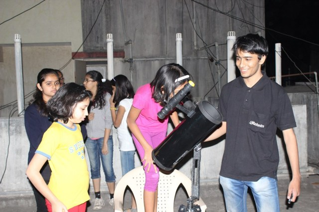 dhruv showing through telescope